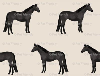 horse black coat horses fabric beige