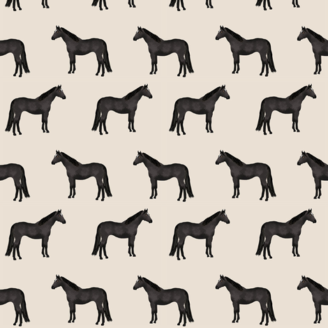 horse black coat horses fabric beige fabric by petfriendly on Spoonflower - custom fabric