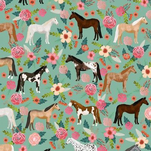 horse multi coat floral horses fabric green