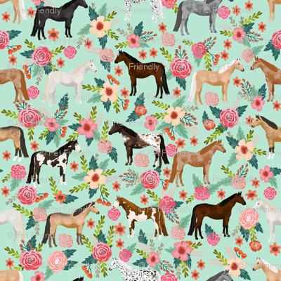horse multi coat floral horses fabric mint