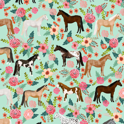 horse multi coat floral horses fabric mint fabric by petfriendly on Spoonflower - custom fabric