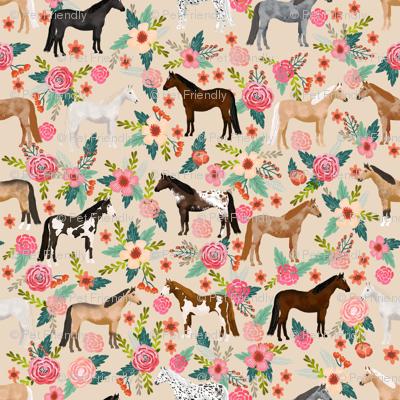 horse multi coat floral horses fabric neutral