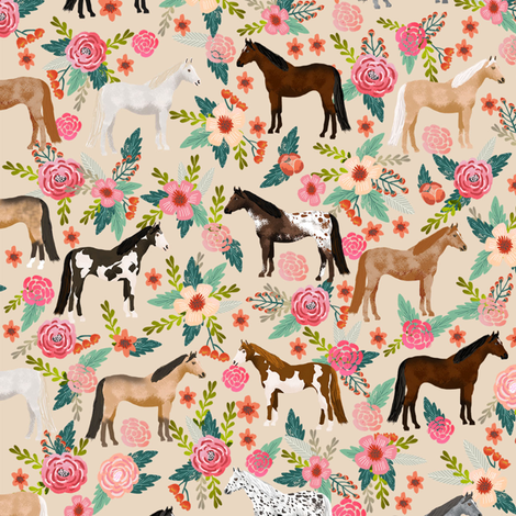 horse multi coat floral horses fabric neutral fabric by petfriendly on Spoonflower - custom fabric