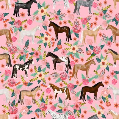 horse multi coat floral horses fabric pink