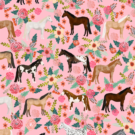 horse multi coat floral horses fabric pink fabric by petfriendly on Spoonflower - custom fabric