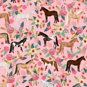 horse multi coat floral horses fabric pink