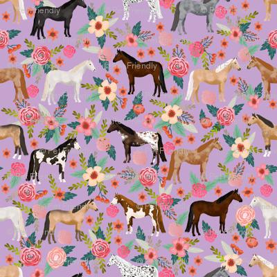 horse multi coat floral horses fabric purple