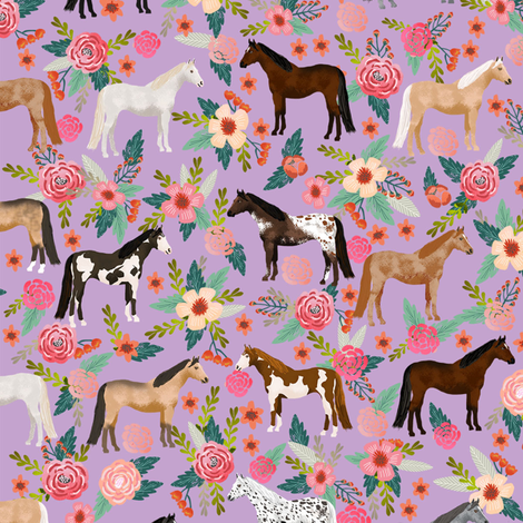 horse multi coat floral horses fabric purple fabric by petfriendly on Spoonflower - custom fabric