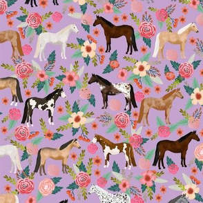 horse multi coat floral horses fabric purple