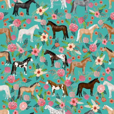 horse multi coat floral horses fabric turq