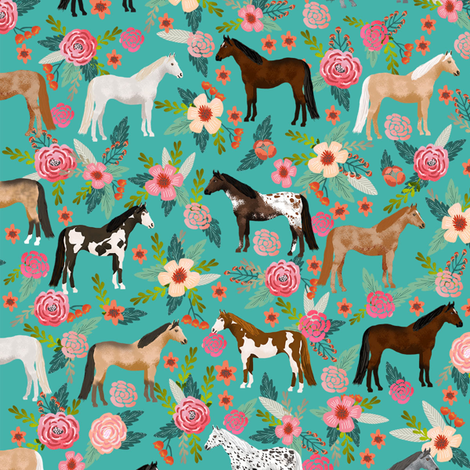horse multi coat floral horses fabric turq fabric by petfriendly on Spoonflower - custom fabric