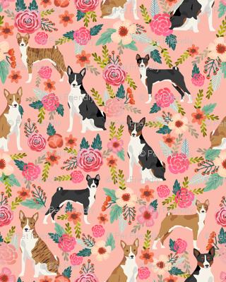 basenji floral mixed coats dog breed pure breed dog fabric pink