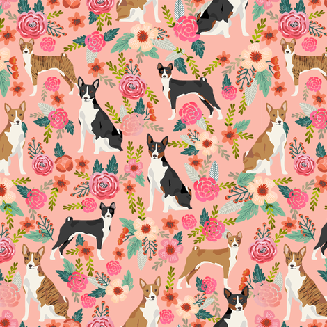 basenji floral mixed coats dog breed pure breed dog fabric pink fabric by petfriendly on Spoonflower - custom fabric