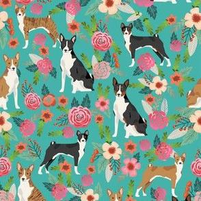 basenji floral mixed coats dog breed pure breed dog fabric teal