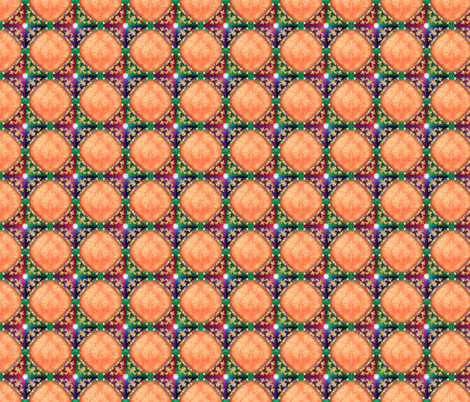 Jeweled Medieval Diamonds in Peach fabric by just_meewowy_design on Spoonflower - custom fabric