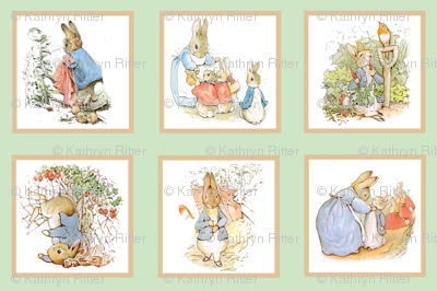 Peter Rabbit Cheater Quilt Block Panel #1 - Moss Green