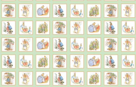 Peter Rabbit Cheater Quilt Block Panel #1 - Moss Green fabric by aspenartsstudio on Spoonflower - custom fabric