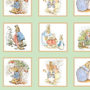 Peter Rabbit Cheater Quilt Block Panel #1 - Moss Green