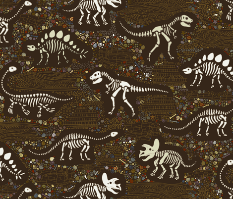 Dinosaur Fossils - Brown fabric by cecca on Spoonflower - custom fabric