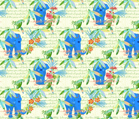 endangered species asian elephant fabric by designed_by_debby on Spoonflower - custom fabric