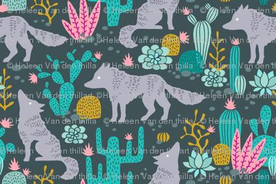Wolf in the cactus desert turquoise/pink dark