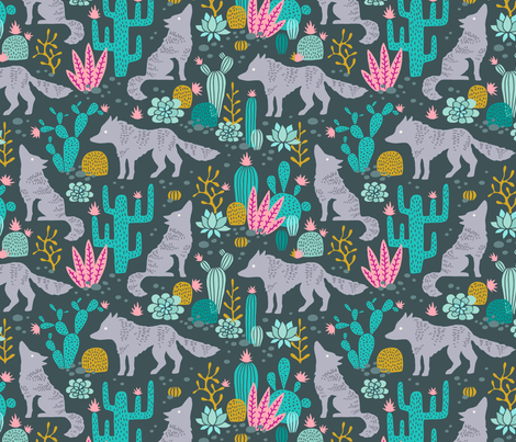 Wolf in the cactus desert turquoise/pink dark fabric by heleen_vd_thillart on Spoonflower - custom fabric