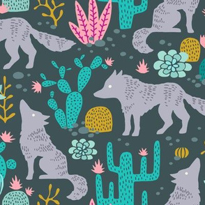 Wolf in the cactus desert turquoise/pink dark