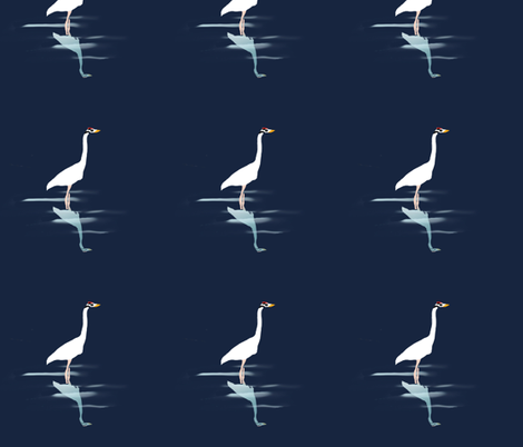 Wading Whooping Crane fabric by della_vita on Spoonflower - custom fabric