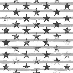 Distressed Charcoal Stars on Medium-Gray Stripes
