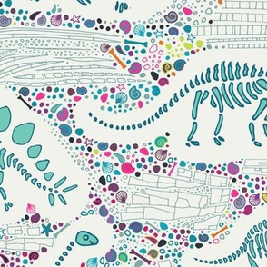 Dinosaur Fossils -  aqua on white