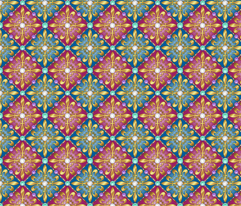Jeweled Fleur di lis Diamonds fabric by just_meewowy_design on Spoonflower - custom fabric