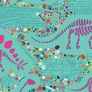 Dinosaur fossils - pink on aqua