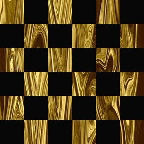 LG - Large Precious Metal Gold and Black checkerboard