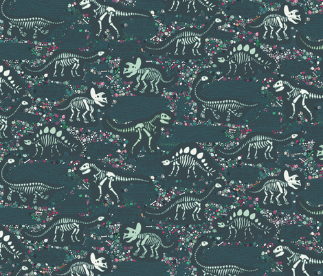Dinosaur Fossils - slate, green and pink - small scale fabric by cecca on Spoonflower - custom fabric