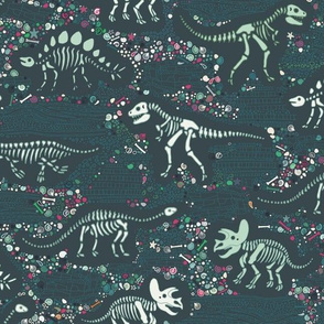 Dinosaur Fossils - slate, green and pink - small scale