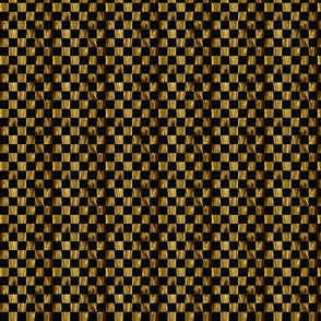 Tiny Precious Metal Gold and Black checkerboard