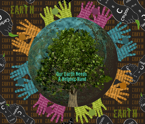 Our Earth Needs a Helping Hand fabric by flower_wall on Spoonflower - custom fabric