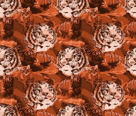 Endangered Siberian Tiger 5 amber fabric by lorloves_design on Spoonflower - custom fabric