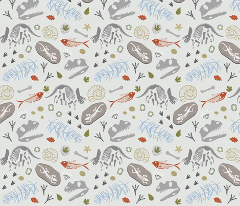 Fossil Adventures fabric by vintage_style on Spoonflower - custom fabric