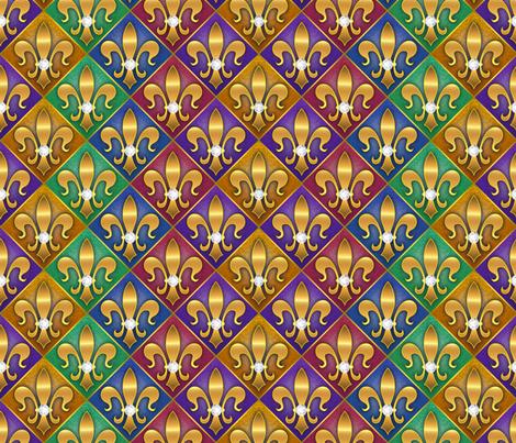 Fleur di lis Rainbow Diamonds fabric by just_meewowy_design on Spoonflower - custom fabric