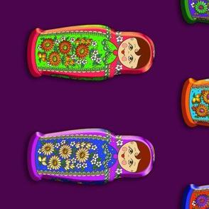 Babuszka on 60-inch purple plain