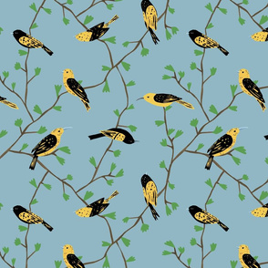 Yellow Birds in Vines