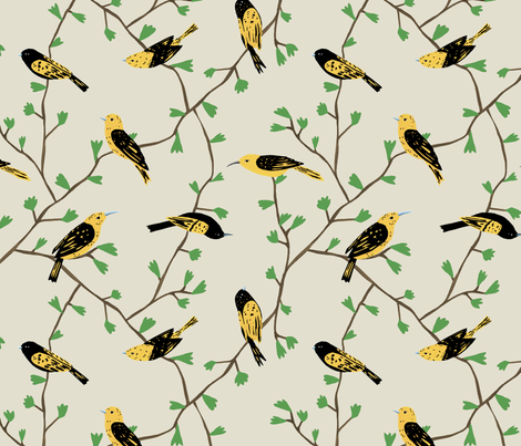 Yellow Birds in Vines (natural) fabric by melissa_boardman on Spoonflower - custom fabric