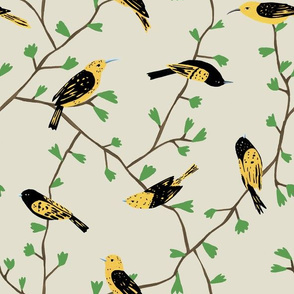 Yellow Birds in Vines (natural)