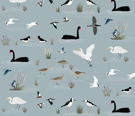 New Zealand Estuary Birds fabric by melissa_boardman on Spoonflower - custom fabric
