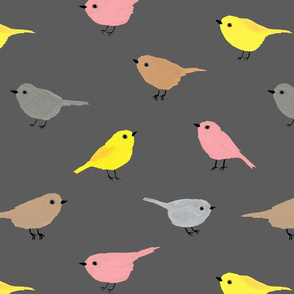 Cute Birds (dark grey, smaller)