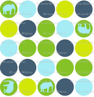 Urban Circus Elephants Dots Blue