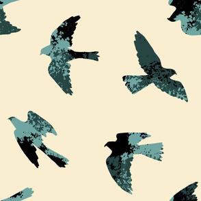 Leafy Birds (blue-green)