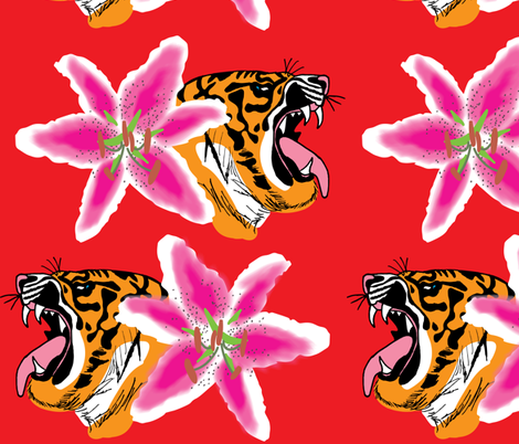 Tiger Lily fabric by kikizales2024 on Spoonflower - custom fabric