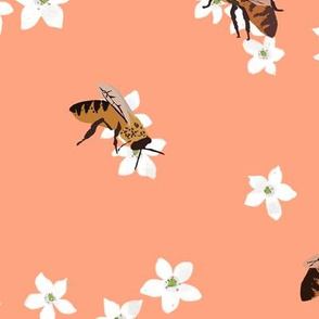Manuka Flowers and Bees (peach)